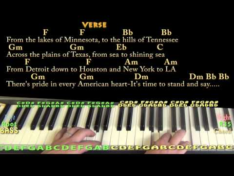 God Bless the USA - Piano Cover Lesson with Chords/Lyrics