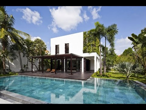Contemporary house design beautiful villa with vertical for Beautiful villa design