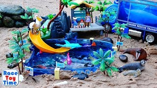 Fun Sea Animals Toys For Kids In The Playmobil Aquarium Playset - Let's Lear