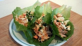 BUFFALO CHICKEN SALAD LETTUCE CUPS (Paleo, Primal, Low-Carb, Dr Poon)
