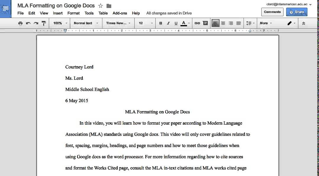MLA Formatting on Google Docs - YouTube - paper formatting guidelines