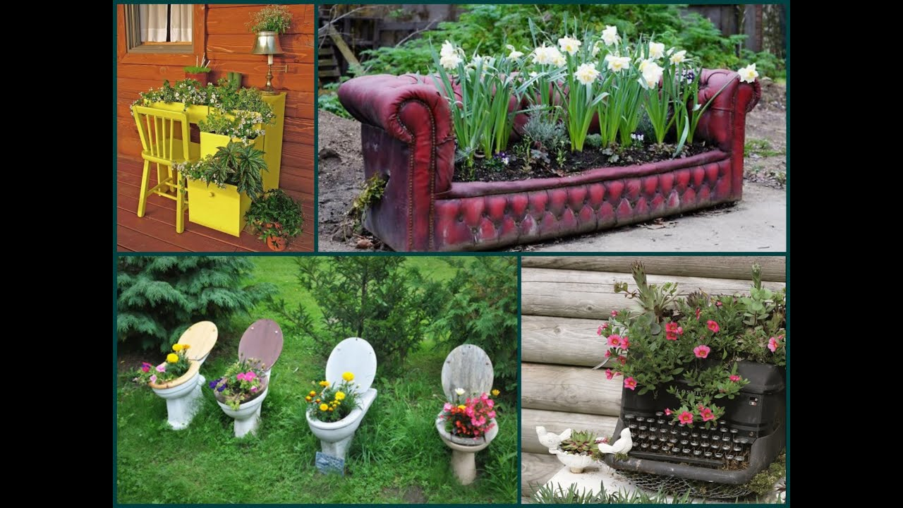 Garden decorating ideas recycle old furniture youtube for Garden decoration ideas pictures