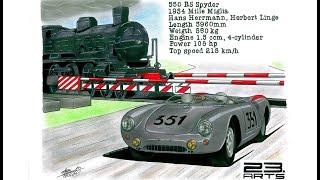 Porsche 550 RS Spyder 1954   Realistic car drawing Porsche 550 RS Spyder