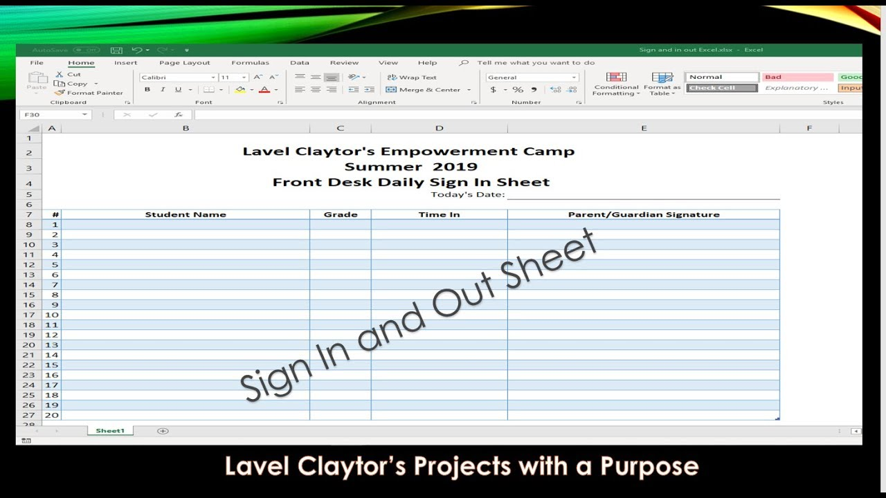 how to create a sign in  out sheet in under 10 minutes using a microsoft excel