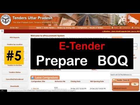 E Tender !! #05  Prepare BOQ for Tender ! Bid, E tender Process to BOQ