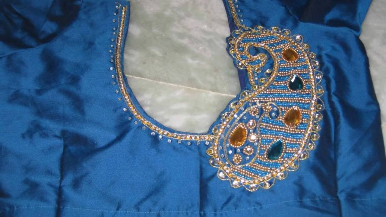 Hand Made Zardozi Amp Aari Work On Blouse By Amirtha Part 3