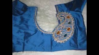 Hand made zardozi & aari work on blouse by Amirtha Part 3