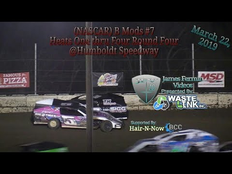 (NASCAR) B Mods #7, Heats 1-4 Round 4, Kings of the Ring, Humboldt Speedway, 03/22/19