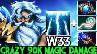 W33 [Zeus] Crazy 90K Magic Damage Instant Kill Super Mid 7.22 Dota 2