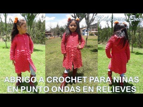 Abrigo o Suéter a crochet para niñas de 5 años en punto Ondas en Relieves TODAS LAS TALLAS