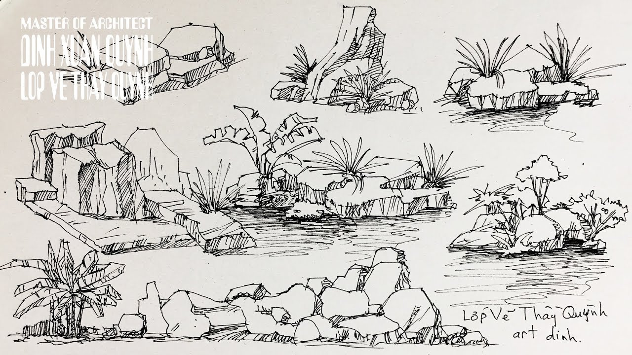 how to draw Rocks (stones) and Boulders - Pen & Ink drawing