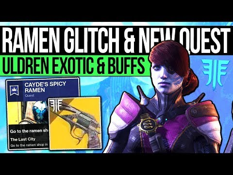 Destiny 2 News | RAMEN GLITCH & NEW QUESTS! Uldren Exotic, Mod Stacking, Huge Buffs & Vendor Change!