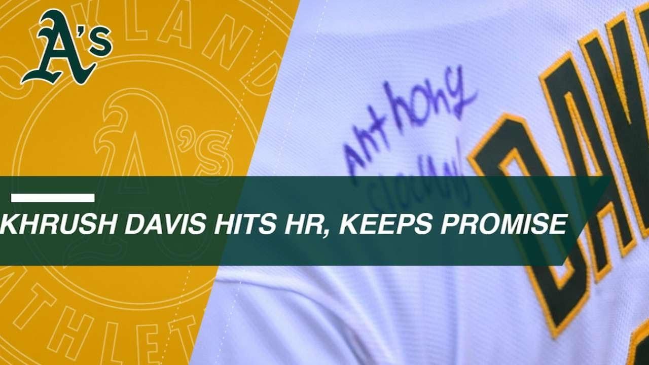 buy popular 433e1 aa0e8 Khris Davis fulfills promise, clubs Make-A-Wish homer