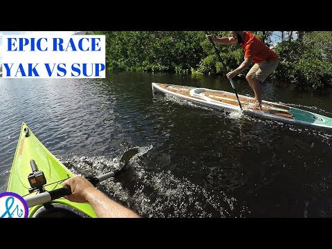 SIT INSIDE kayak Vs Bote Paddle board SPEED Race Hurricane Santee 116