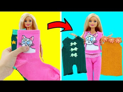 DIY BARBIE HACKS AND CRAFTS: Making Easy Clothes for Barbies Doll From Old Socks