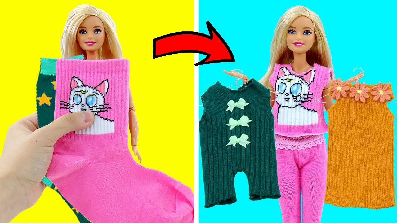 Download DIY BARBIE HACKS AND CRAFTS: Making Easy Clothes for Barbies Doll From Old Socks