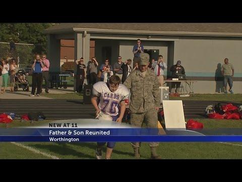 Airman surprises his son at football game