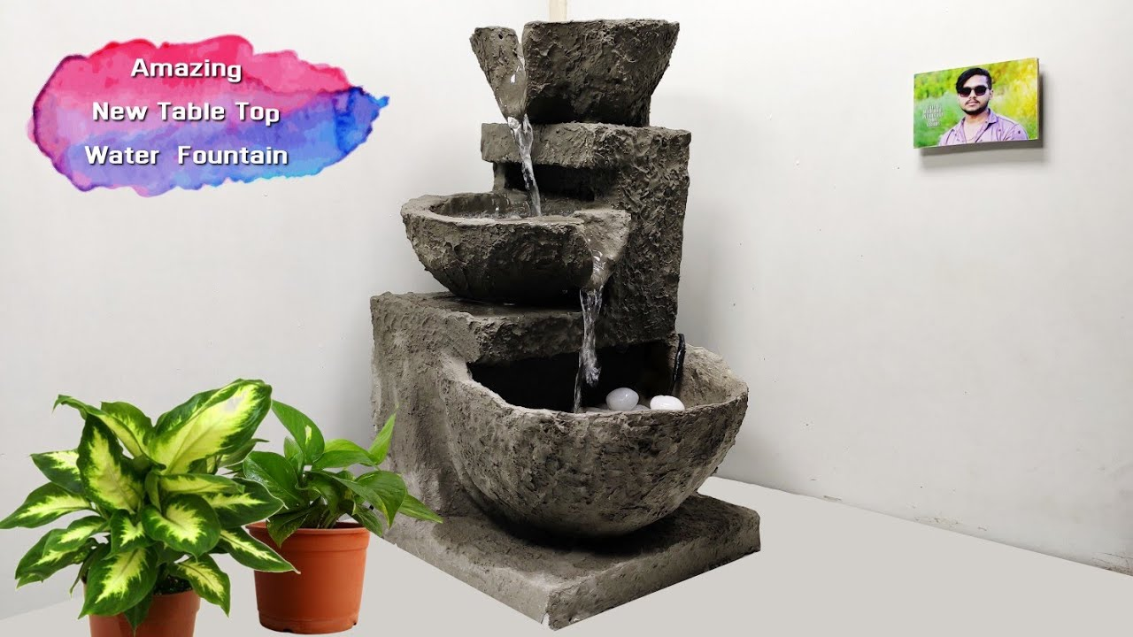 Wow Amazing Home Made Cement Table Top Water Fountain Indoor Waterfalls Water Fountain Youtube