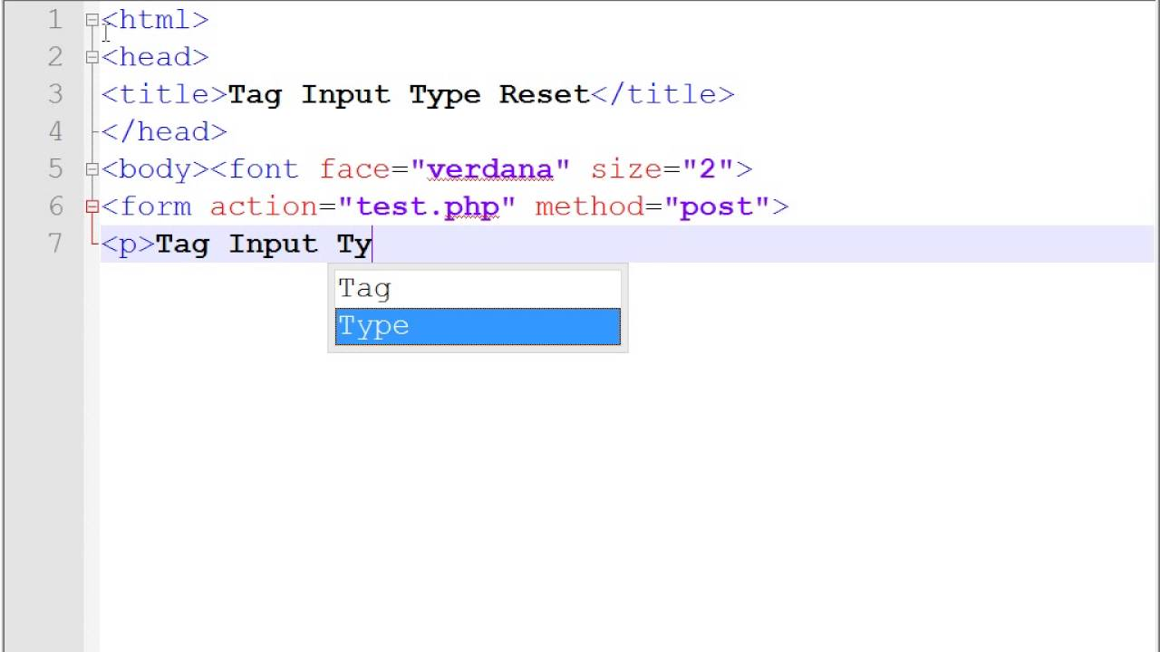 HTML Tag Input Type Reset - YouTube