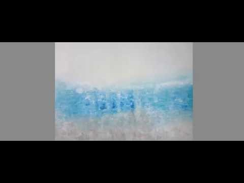 Original Abstract Contemporary Art Painting - PACIFICA - Blue White Textured Modern Artwork
