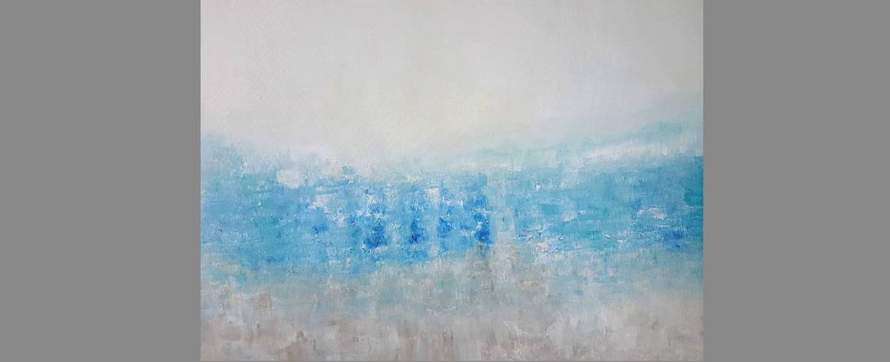 Original Abstract Contemporary Art Painting PACIFICA Blue White