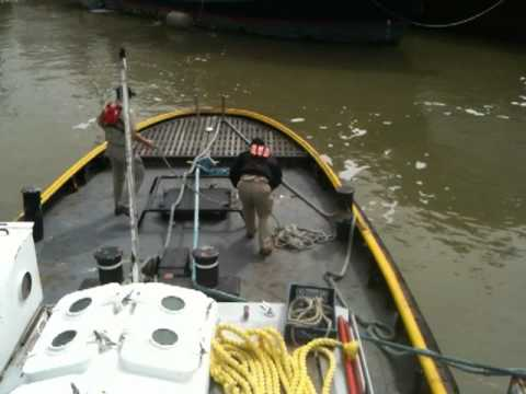 Tug and Barge, Rigging Tow Gear before Departure
