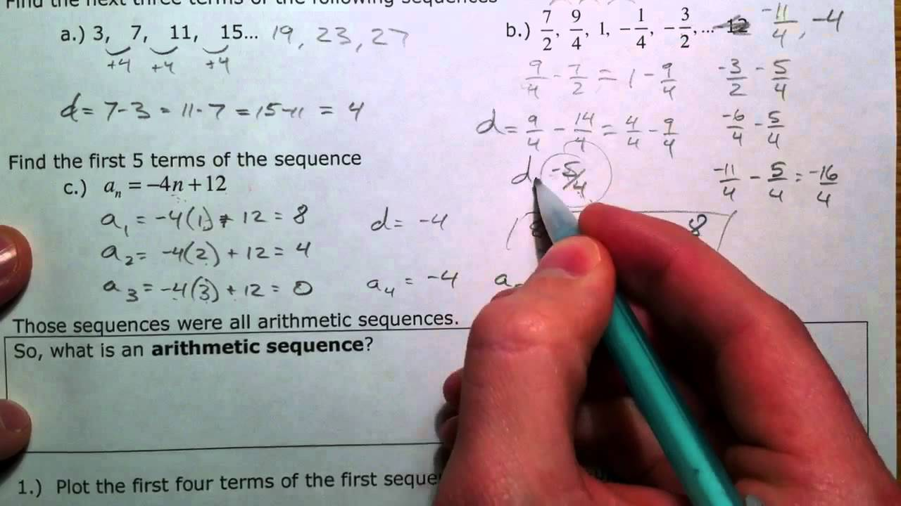 Arithmetic Sequences and Series 1 of 3 YouTube – Arithmetic Sequence Worksheet Algebra 1
