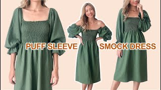 DIY Puff sleeve smock dress from scratch - A perfect summer dress