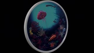 2 oz. Pure Silver Glow-in-the-Dark Coin – Illuminated Coral Reef