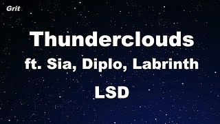 Thunderclouds Ft. Sia, Diplo, Labrinth   Lsd Karaoke 【no Guide Melody】 Instrumental