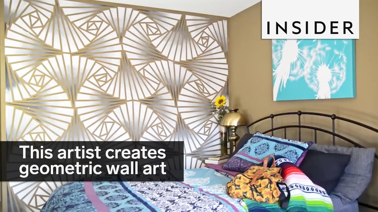 This artist creates stunning geometric wall designs - YouTube