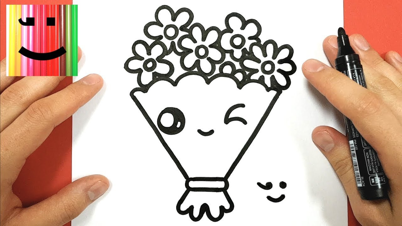 HOW TO DRAW A CUTE BUNCH OF FLOWERS KAWAII. TUTO DESSIN , DESSIN FACILE