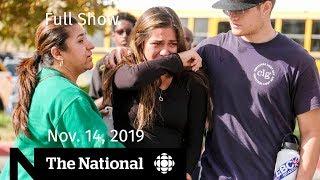 The National for Thursday, Nov. 14 — U.S. school shooting; Benadryl risks; At Issue