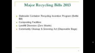 Maryland Recycling Network: Legislative Update - 2013 Recycling Initiatives in Annapolis