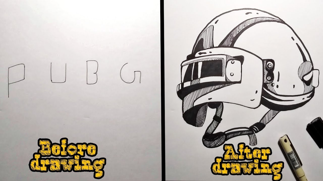 how to draw pubg helmet pubg level 3 helmet drawing into words