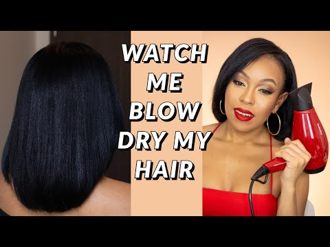 HOW I BLOWDRY MY RELAXED HAIR AT HOME -  Dominican blow out