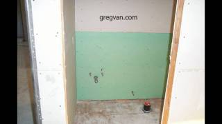 Green Wallboard Behind Toilet And Bathroom Cabinet - Home-Building Tips