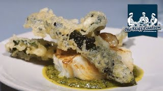 Halibut cooked in beef butter, crispy cavolo and ramson caper pesto recipe