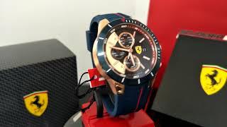 法拉利運動名牌錶,編號:FE00021,三眼寶藍競速款