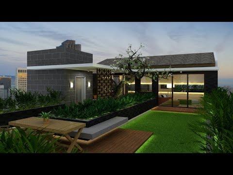 Rooftop Garden Design Build With Google Sketchup + Vray 3.4 Render