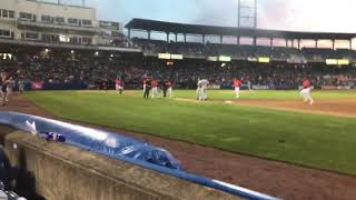 Railriders vs Syracuse Mets brawl bench clearing
