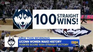 UConn women's basketball team notches 100th straight win