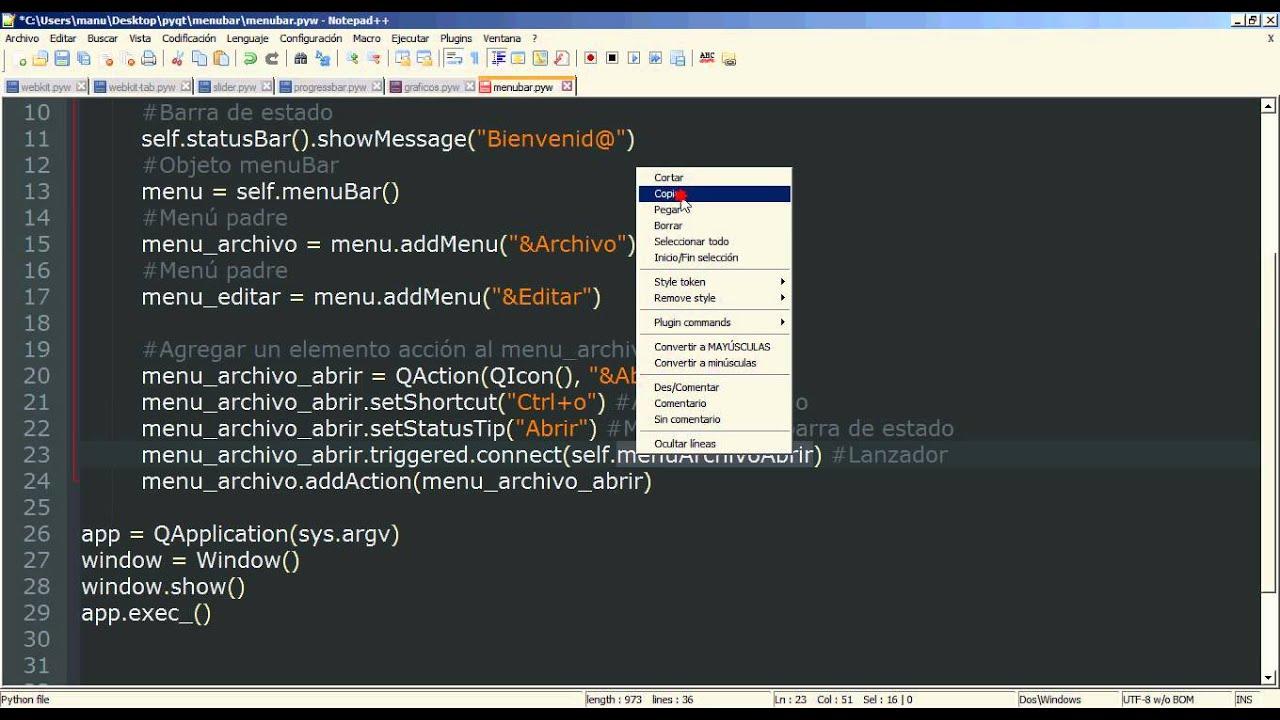 19 - Python PyQt (Interfaz gráfica) - menuBar (Barra de Herramientas ...
