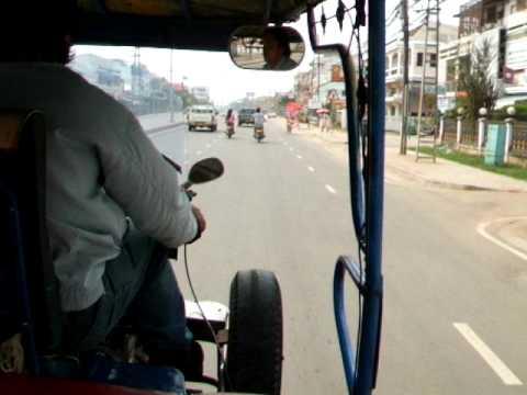 Laos Vientiane tuk tuk jumbo taxi transport in town