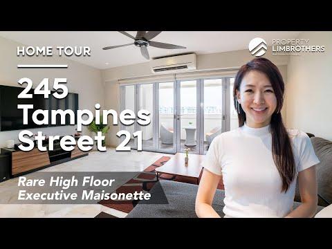 Executive Maisonette   245 Tampines Street 21 High Floor 2 Storey EM Home Tour $908K, Singapore HDB