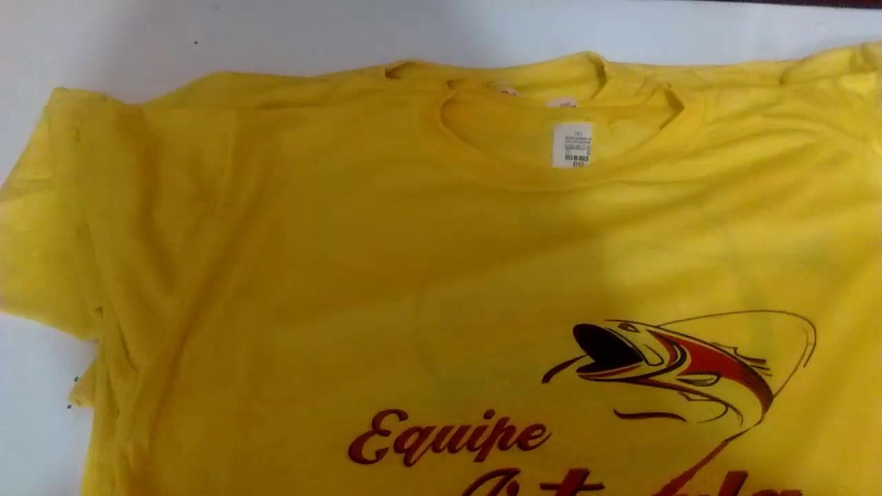 Sublimação em camiseta de poliéster colorida - YouTube edaa17543be