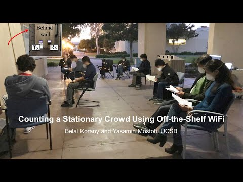 Counting a Stationary Crowd Using Off-the-Shelf WiFi, Without Relying on People to Carry a Device