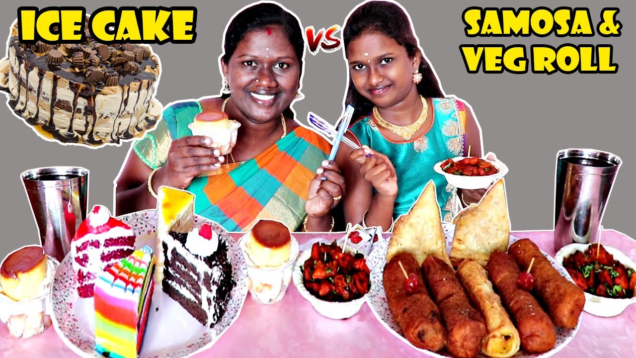 5 ICE CAKE vs SAMOSA & BREAD ROLL EATING COMPETITION IN TAMIL FOODIES DIVYA vs ANUSHYA | RED VELVET