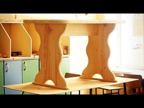 Сборка стола из сосны, Assembly Pine Wood Table