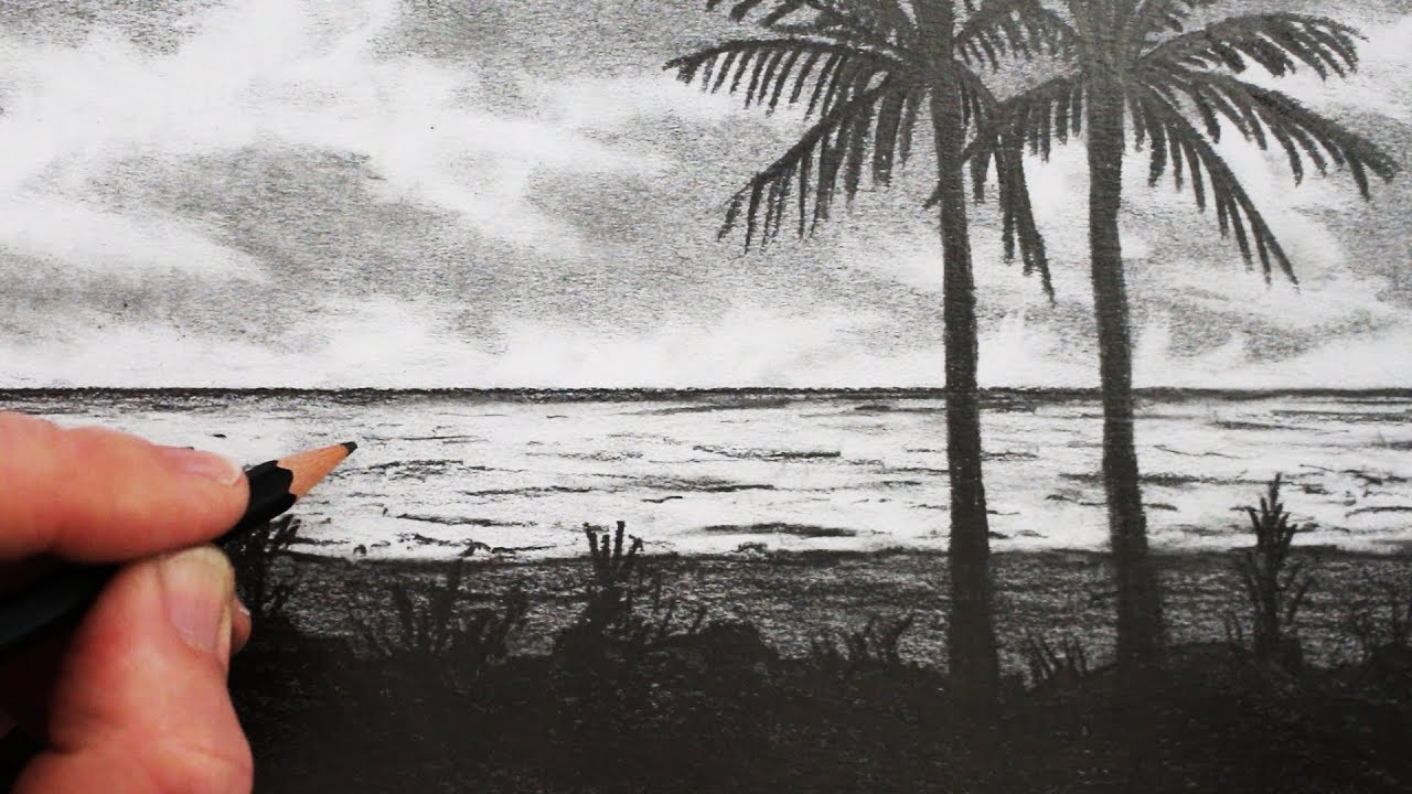 How to draw a beach pencil drawing step by step